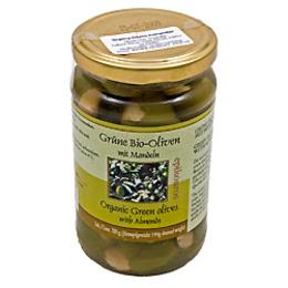 Oliven Grønne m.mandler Ø Græsk 320 g