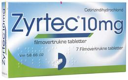 Zyrtec 10 mg. 7 Tabletter
