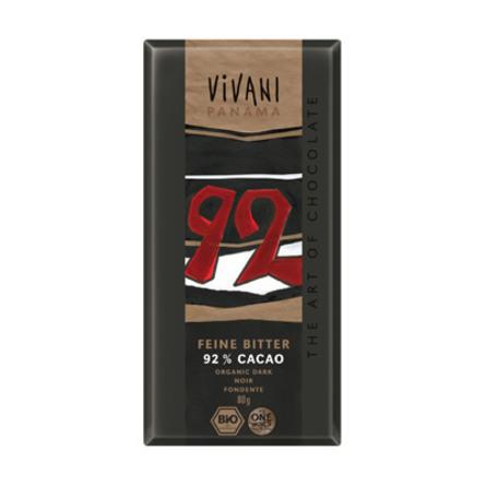 Vivani ekstra mørk chokolade 92% kakao Øko 80 gr.