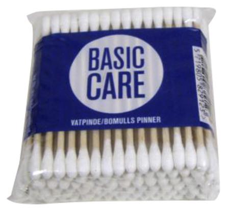 Basic Care Vatpinde med Træpind 100 stk.