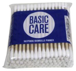 Basic Care Vatpinde m/træpind 100 stk.
