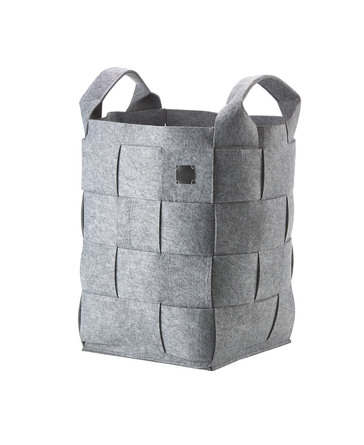 Zone Vasketøjskurv, Hide, grå flettet filt