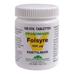 Folsyre Økonomikøb 400 µg 180 tab
