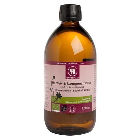 Urtekram Hørfrø- & kæmpenatlysolie Ø 500 ml