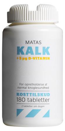 Matas Striber Kalk + 5 µg D-vitamin 180 tabl.