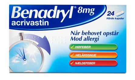 Benadryl 8 mg 24 kapsler