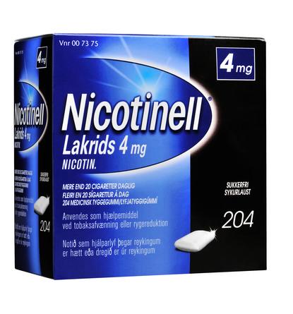 Nicotinell Lakrids tyggegummi 4 mg 204 stk