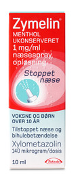 Zymelin Næsespray menthol 1 mg/ml 10 ml