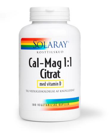 Solaray Cal-Mag 1:1 Citrat med Vitamin D 180 kapsler