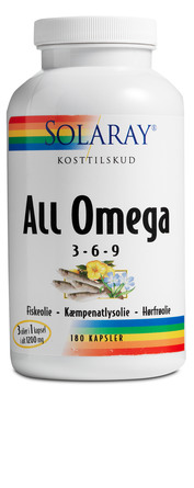 Solaray All Omega 3-6-9, 180 kapsler