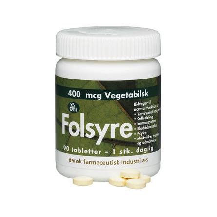 Grønne dfi vitaminer Folsyre 400 mcg 90 tabletter