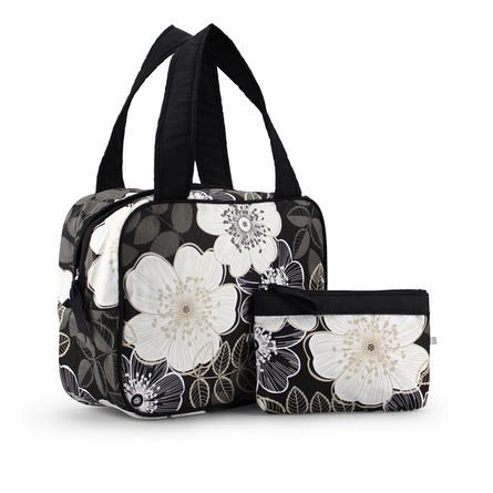 Karen Toilettaskesæt med hank og  blomster print Sort/grå/hvid blomster print