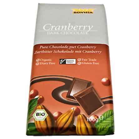 BonVita Chokolade mørk m. tranebær Ø Fairtrade 100 g