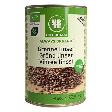 Urtekram Linser grønne i dåse Øko  400 gr.