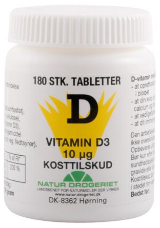 Natur Drogeriet D3 vitamin 10 mcg, 180 kapsler