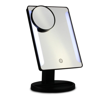 Gillian Jones bord spejl i sort med LED lys