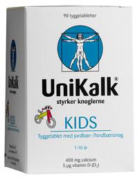 Unikalk UniKalk Kids jordbær/hindbær 90 stk.