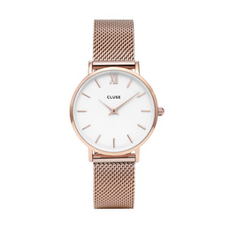 Cluse Minuit Mesh Dameur CL30013 Rose, Gold/White