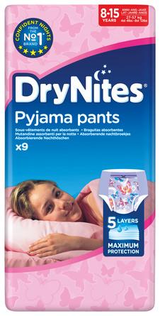 DryNites Natunderbukser 8-15 år Girl 9 stk.