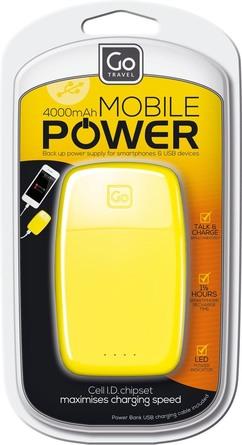 GoTravel Mobil Powerbank Oplader 4000 Gul