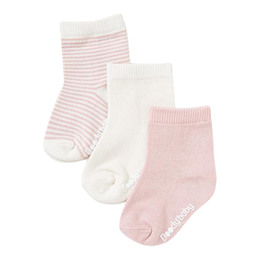 Boody Baby 3 Pack Socks Natur/Lyserød 0-3