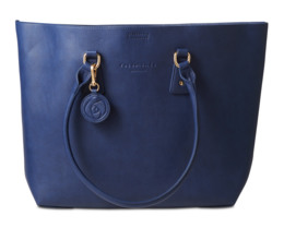 Rosemunde shopper med hank - mørkeblå/beige