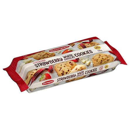 Semper Cookies Strawberry white 150 gr.  Glutenfri