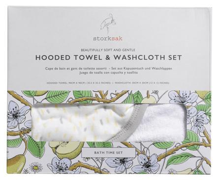 Storksak Baby badehåndklæde med hætte og vaskeklud