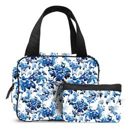 Karen Toilettaskesæt med hank i blå blomster print