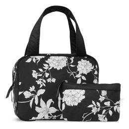 Karen Toilettaskesæt med hank i sort/hvid  blomster print