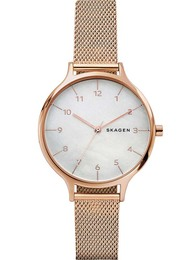 8763df05e48 Skagen ure Anita Mother of Pearl Rose-Tone Steel-Mesh Watch