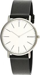 Skagen ure Signatur Slim Titanium and Black Leather Watch