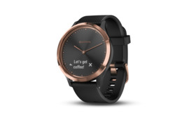 Garmin Vívomove HR Sort/Rose-Gold med sort Silikonerem str. S/M