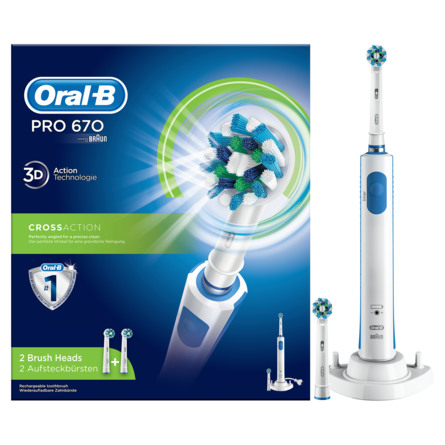 Oral-B (Braun) Pro 670 CrossAction elektrisk tandbørste Powered By Braun