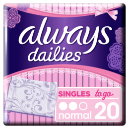 Always Dailies Singles To Go trusseindlæg 20 stk.