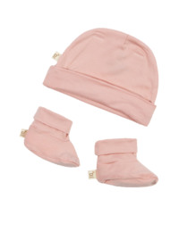Boody Baby Beanie & Booties Lyserød 3-6