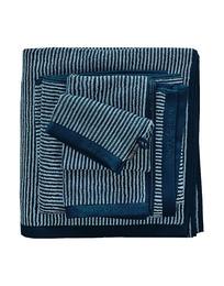 Marc O'Polo Timeless Tone Stripe Håndklæde Marine/Light Silver 50 x 100 cm