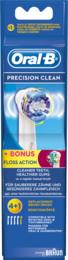 Oral-B (Braun) Precision Clean Elektriske Børstehovedrefiller 4 Stk. + 1 Stk. Floss Action 3 stk.