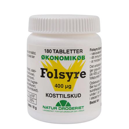 Natur Drogeriet Folsyre Økonomikøb 400 µg 180 tab