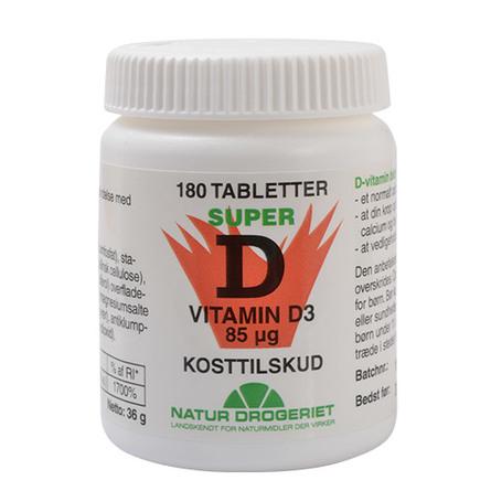 Natur Drogeriet Super 85 d-vitamin 85 mcg 180 tabl.