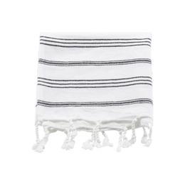 Meraki Hammam-Håndklæde Hvid m. Sort Stribe 90 x 45 cm