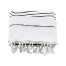 Meraki Hammam-Håndklæde Hvid m. Sort Stribe 180 x 100 cm