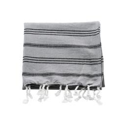Meraki Hammam-Håndklæde Grå m. Sort Stribe 90 x 45 cm