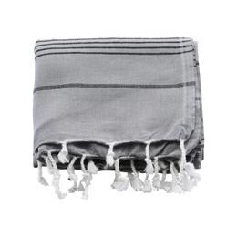 Meraki Hammam-Håndklæde Grå m. Sort Stribe 180 x 100 cm