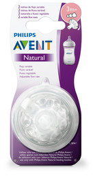Philips Avent Flaskesut Natural V2 3m Variabel 2-Pak