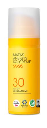Matas Striber Ansigtssolcreme SPF30 Uden Parfume 50 ml