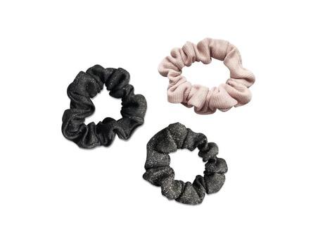 Everneed Envy Shiny Scrunchie Rose, Dark Grey, Black