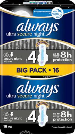 Always Ultra Secure Night bind med vinger (str. 4) 16 stk.