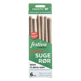 Maistic Bio Sugerør Naturlige Bambus 6 stk