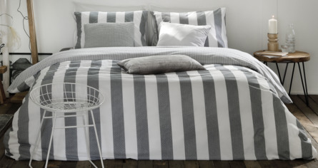 Casa Decor Everline Sengetøj Stripe Grey/Off White 140 x 200 cm